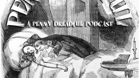 Penny Earful Logo.  Base art is circa 1800:  An illustration from the penny dreadful 'Varney the Vampire or the Feast of Blood'.